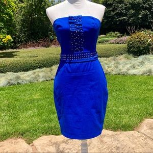 Eva Franco Blue Strapless Mini Dress